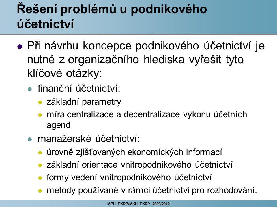 MPH_EKRP/MKH_EKRP 2009/2010 Přístupy k vytváření útvarových struktur Obecné principy přiřazení procesů útvarům: princip funkční specializace princip předmětné specializace kombinace obou principů Volba útvarové struktury (a jejich kombinací): tradiční útvarové struktury: liniová struktura funkční struktura liniově-štábní struktura cílově programové útvarové struktury: projektová koordinace a projektová struktura maticová struktura.