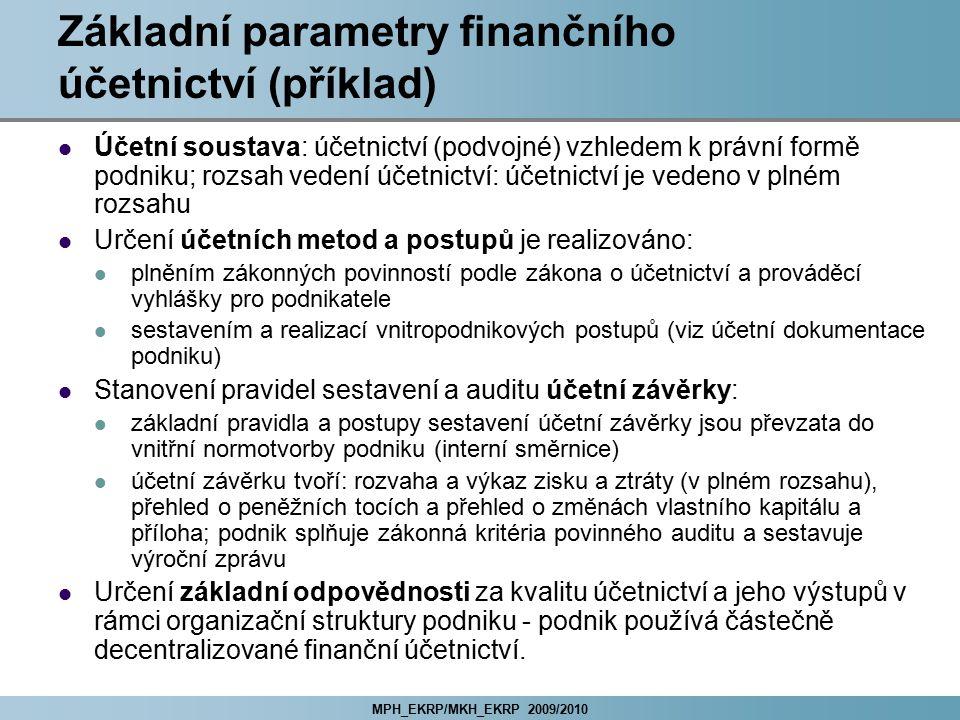 MPH_EKRP/MKH_EKRP 2009/2010 Základní parametry finančního účetnictví (příklad) Účetní soustava: účetnictví (podvojné) vzhledem k právní formě podniku;