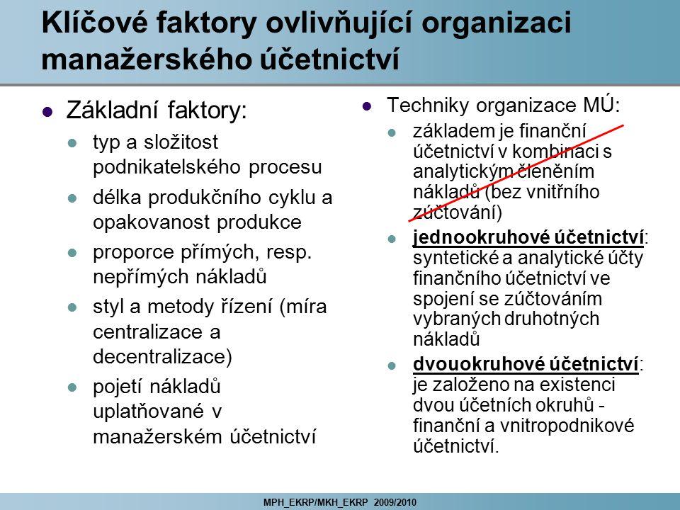 MPH_EKRP/MKH_EKRP 2009/2010 Klíčové faktory ovlivňující organizaci manažerského účetnictví Základní faktory: typ a složitost podnikatelského procesu d