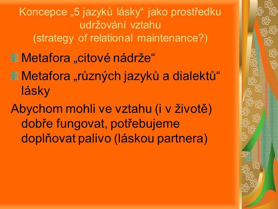 """Koncepce """"5 jazyků lásky jako prostředku udržování vztahu (strategy of relational maintenance?) Metafora """"citové nádrže Metafora """"různých jazyků a dialektů lásky Abychom mohli ve vztahu (i v životě) dobře fungovat, potřebujeme doplňovat palivo (láskou partnera)"""