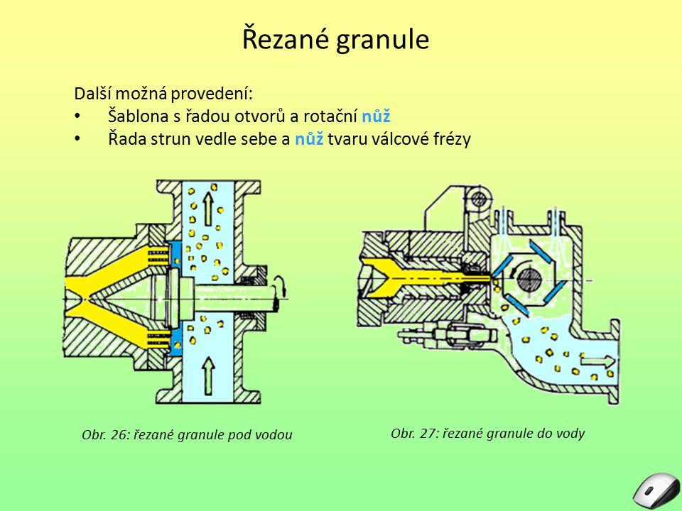 Řezané granule Obr. 26: řezané granule pod vodou Další možná provedení: Šablona s řadou otvorů a rotační nůž Řada strun vedle sebe a nůž tvaru válcové