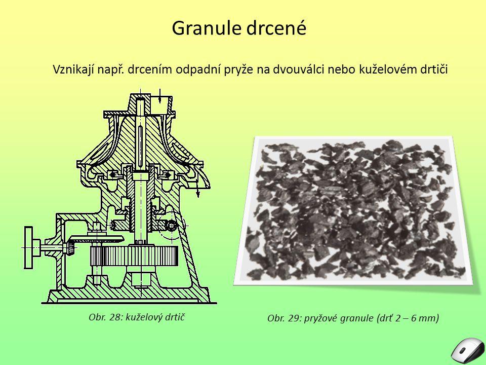Granule drcené Obr. 29: pryžové granule (drť 2 – 6 mm) Vznikají např. drcením odpadní pryže na dvouválci nebo kuželovém drtiči Obr. 28: kuželový drtič