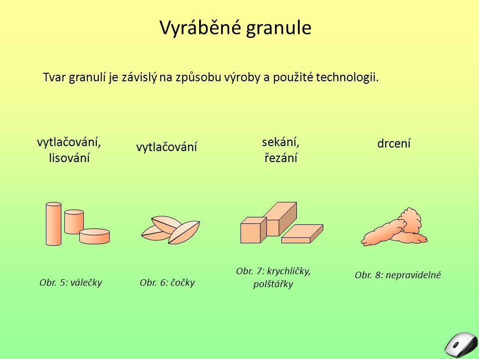 Vyráběné granule Tvar granulí je závislý na způsobu výroby a použité technologii. Obr. 5: válečkyObr. 6: čočky Obr. 7: krychličky, polštářky Obr. 8: n