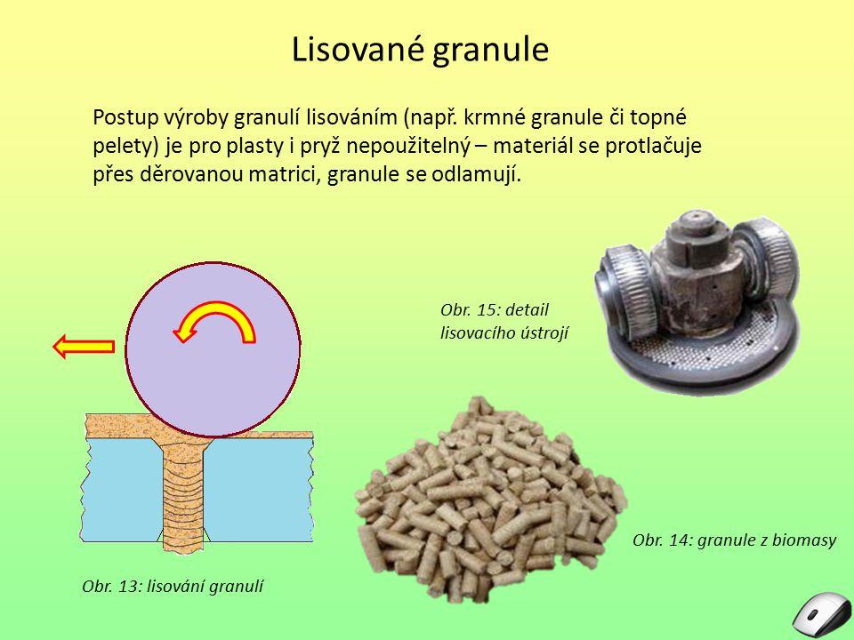Lisované granule Obr. 13: lisování granulí Postup výroby granulí lisováním (např. krmné granule či topné pelety) je pro plasty i pryž nepoužitelný – m