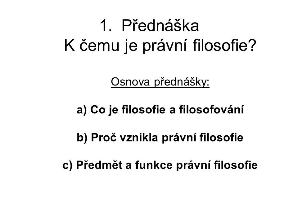1.Přednáška K čemu je právní filosofie.