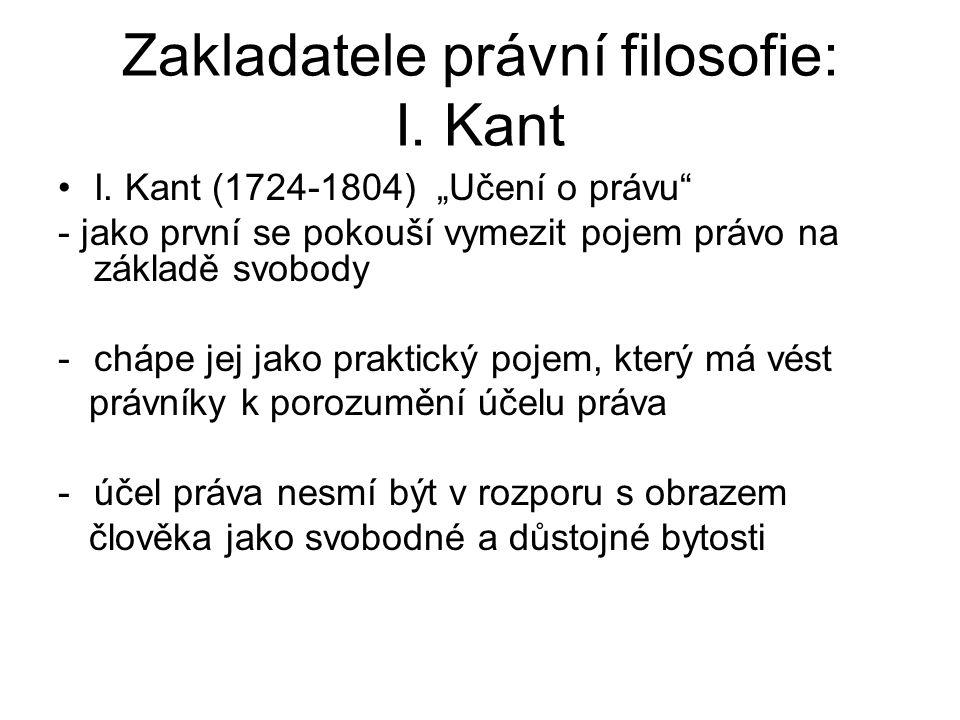 """Zakladatele právní filosofie: I. Kant I. Kant (1724-1804) """"Učení o právu"""" - jako první se pokouší vymezit pojem právo na základě svobody -chápe jej ja"""