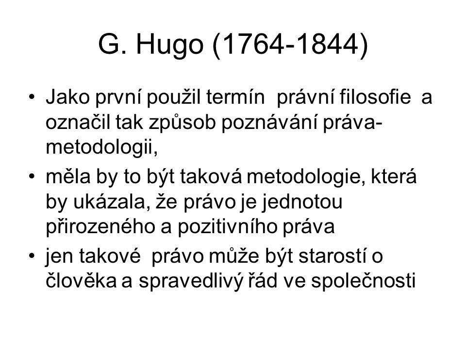 G. Hugo (1764-1844) Jako první použil termín právní filosofie a označil tak způsob poznávání práva- metodologii, měla by to být taková metodologie, kt