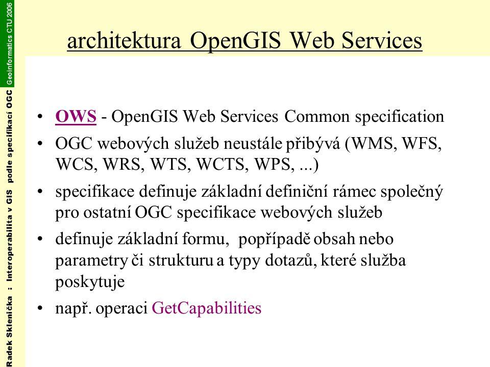 architektura OpenGIS Web Services OWS - OpenGIS Web Services Common specification OGC webových služeb neustále přibývá (WMS, WFS, WCS, WRS, WTS, WCTS, WPS,...) specifikace definuje základní definiční rámec společný pro ostatní OGC specifikace webových služeb definuje základní formu, popřípadě obsah nebo parametry či strukturu a typy dotazů, které služba poskytuje např.