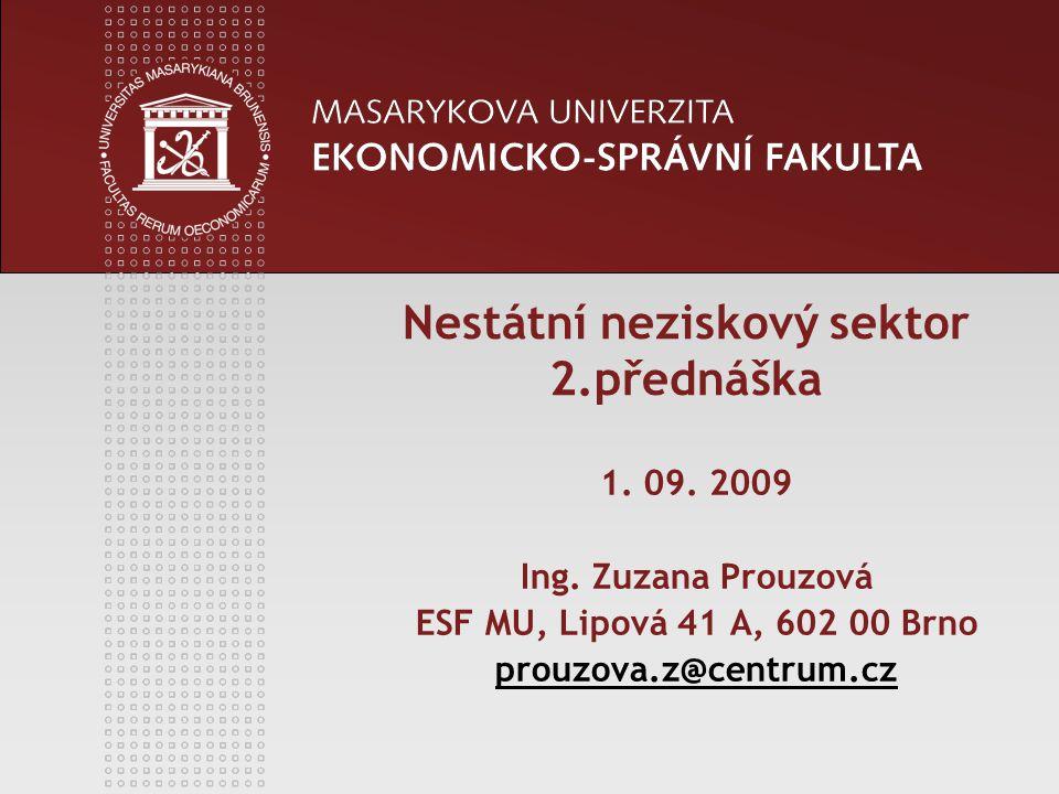 Nestátní neziskový sektor 2.přednáška 1. 09. 2009 Ing. Zuzana Prouzová ESF MU, Lipová 41 A, 602 00 Brno prouzova.z@centrum.cz