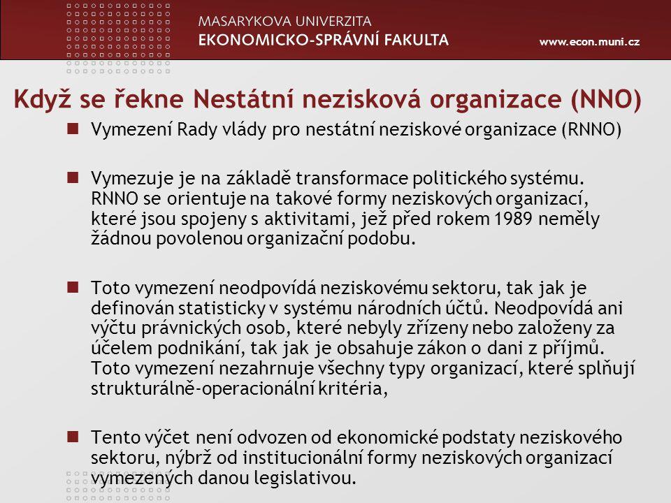 www.econ.muni.cz Když se řekne Nestátní nezisková organizace (NNO) Vymezení Rady vlády pro nestátní neziskové organizace (RNNO) Vymezuje je na základě