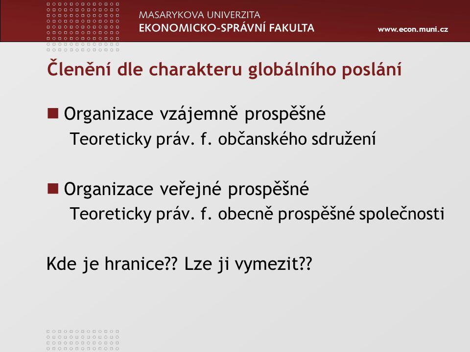 www.econ.muni.cz Členění dle charakteru globálního poslání Organizace vzájemně prospěšné Teoreticky práv. f. občanského sdružení Organizace veřejné pr