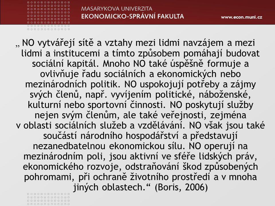 """www.econ.muni.cz """" NO vytvářejí sítě a vztahy mezi lidmi navzájem a mezi lidmi a institucemi a tímto způsobem pomáhají budovat sociální kapitál. Mnoho"""