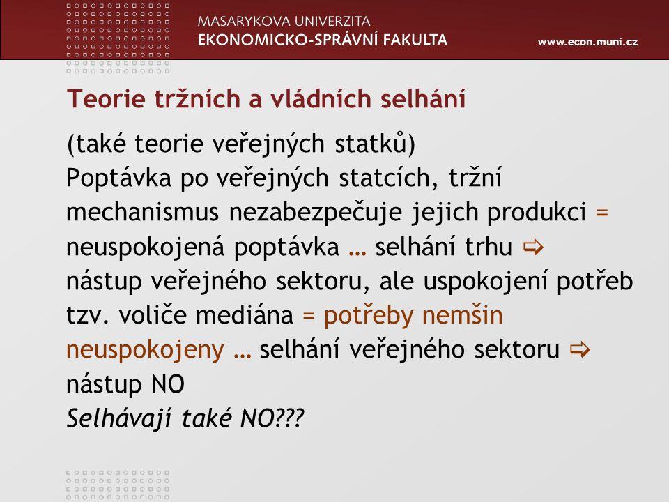 www.econ.muni.cz Teorie tržních a vládních selhání (také teorie veřejných statků) Poptávka po veřejných statcích, tržní mechanismus nezabezpečuje jeji