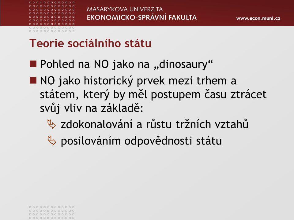 """www.econ.muni.cz Teorie sociálního státu Pohled na NO jako na """"dinosaury"""" NO jako historický prvek mezi trhem a státem, který by měl postupem času ztr"""
