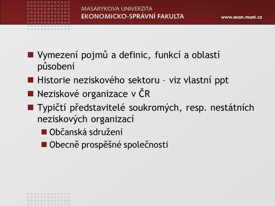 www.econ.muni.cz Vymezení pojmů a definic, funkcí a oblastí působení Historie neziskového sektoru – viz vlastní ppt Neziskové organizace v ČR Typičtí