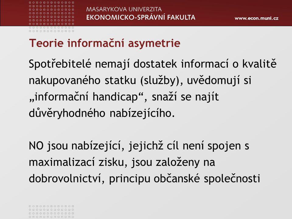 """www.econ.muni.cz Teorie informační asymetrie Spotřebitelé nemají dostatek informací o kvalitě nakupovaného statku (služby), uvědomují si """"informační h"""