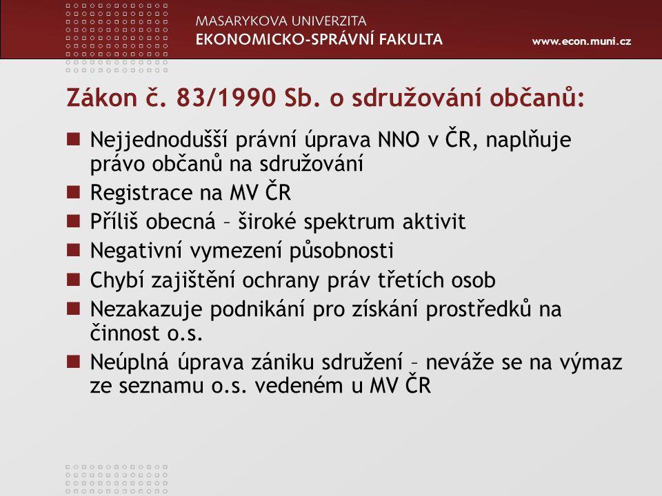 www.econ.muni.cz Zákon č. 83/1990 Sb. o sdružování občanů: Nejjednodušší právní úprava NNO v ČR, naplňuje právo občanů na sdružování Registrace na MV