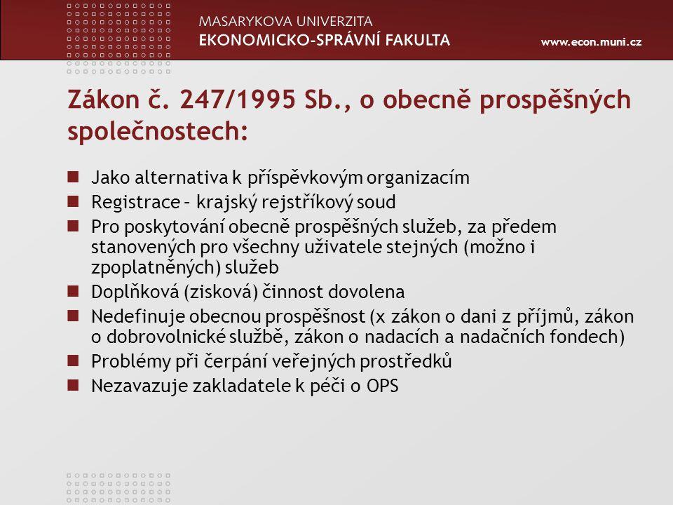 www.econ.muni.cz Zákon č. 247/1995 Sb., o obecně prospěšných společnostech: Jako alternativa k příspěvkovým organizacím Registrace – krajský rejstříko