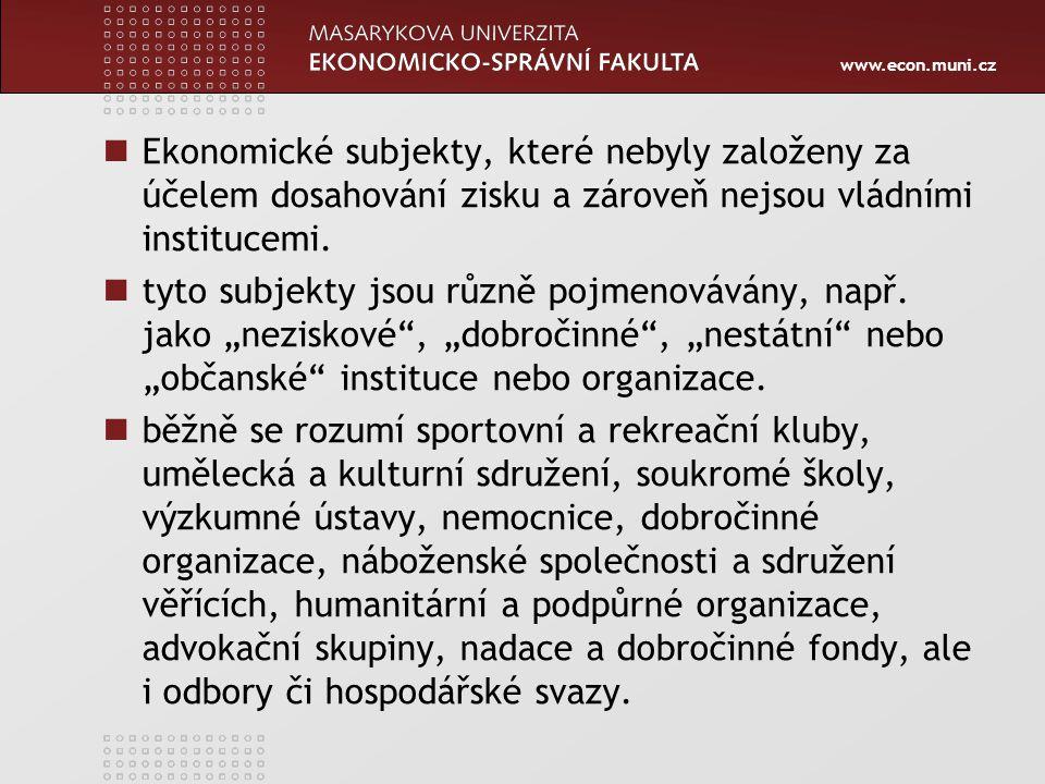 www.econ.muni.cz Ekonomické subjekty, které nebyly založeny za účelem dosahování zisku a zároveň nejsou vládními institucemi. tyto subjekty jsou různě