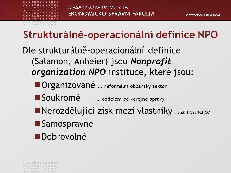 www.econ.muni.cz Strukturálně-operacionální definice NPO Dle strukturálně-operacionální definice (Salamon, Anheier) jsou Nonprofit organization NPO in