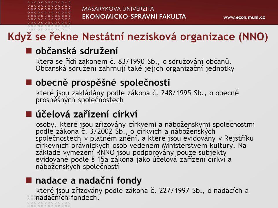 www.econ.muni.cz Když se řekne Nestátní nezisková organizace (NNO) občanská sdružení která se řídí zákonem č. 83/1990 Sb., o sdružování občanů. Občans