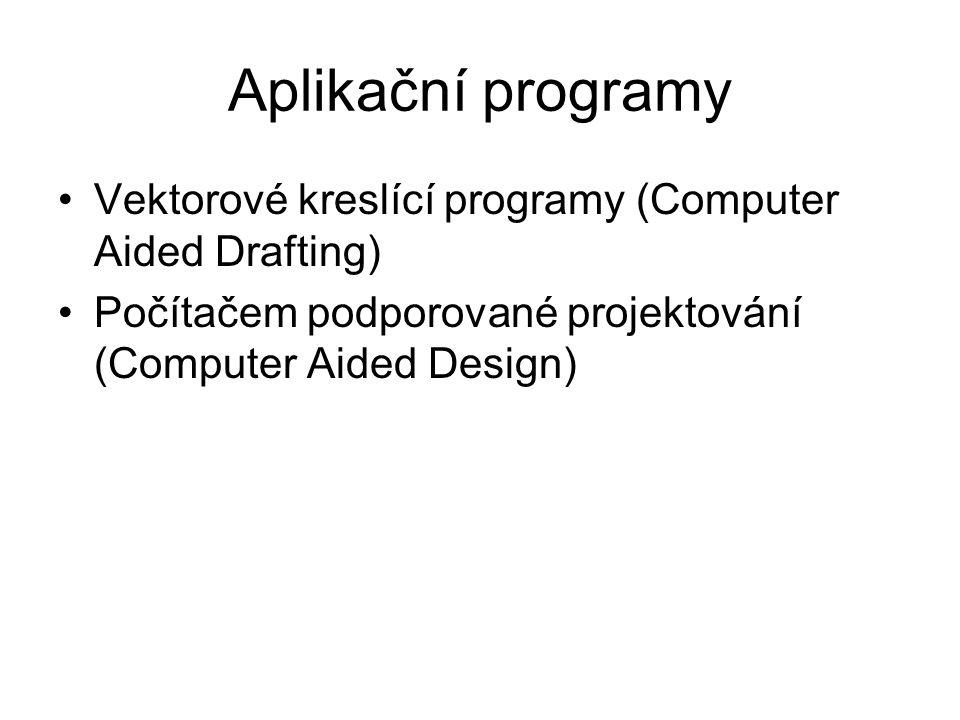 Aplikační programy Vektorové kreslící programy (Computer Aided Drafting) Počítačem podporované projektování (Computer Aided Design)