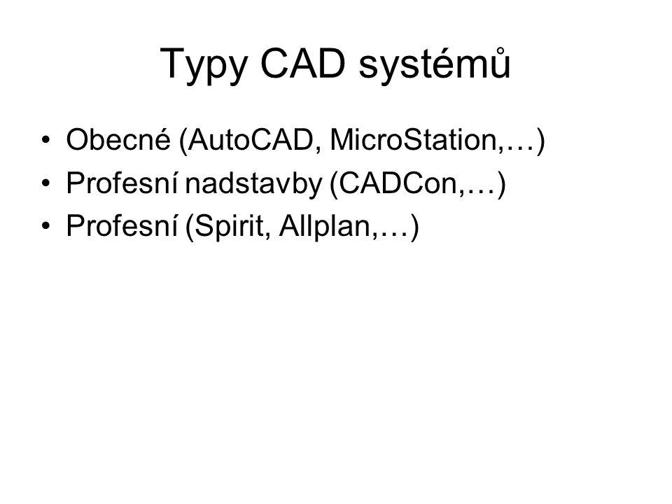 Typy CAD systémů Obecné (AutoCAD, MicroStation,…) Profesní nadstavby (CADCon,…) Profesní (Spirit, Allplan,…)