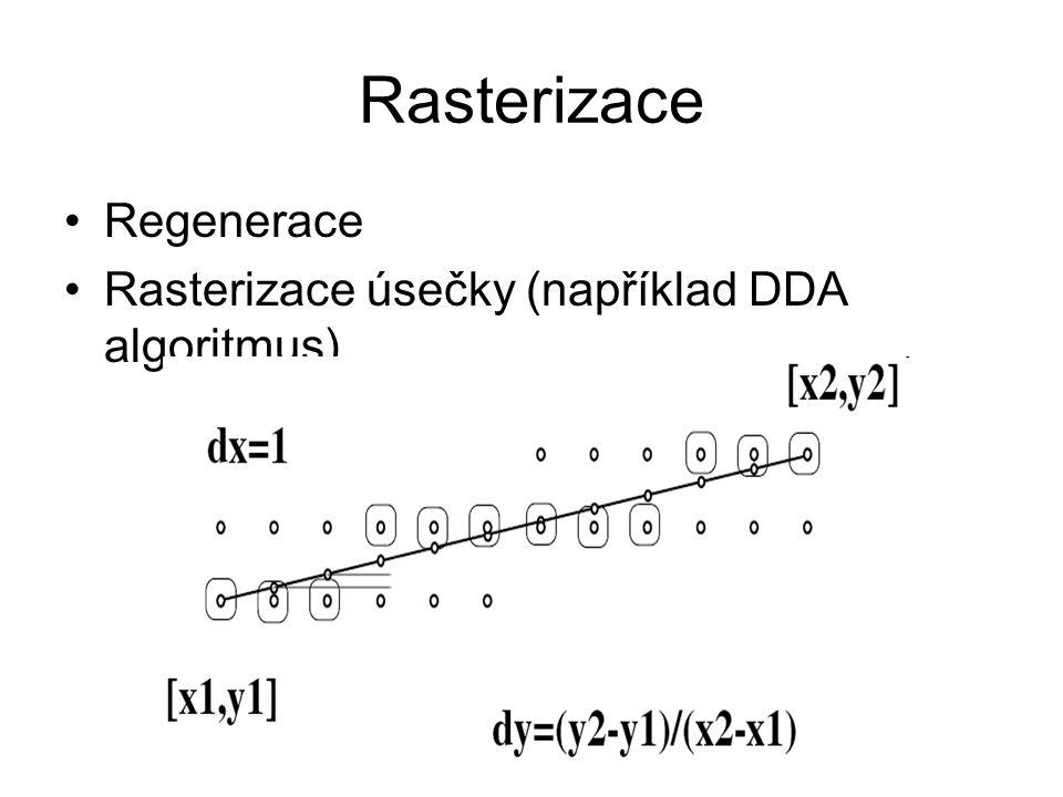 Rasterizace Regenerace Rasterizace úsečky (například DDA algoritmus)
