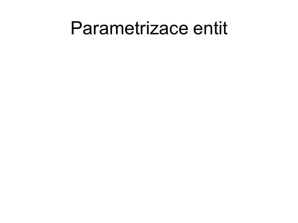 Parametrizace entit