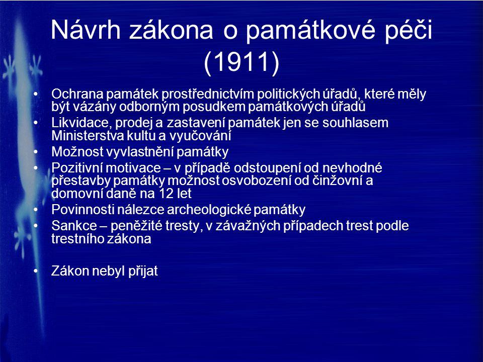 Návrh zákona o památkové péči (1911) Ochrana památek prostřednictvím politických úřadů, které měly být vázány odborným posudkem památkových úřadů Likv