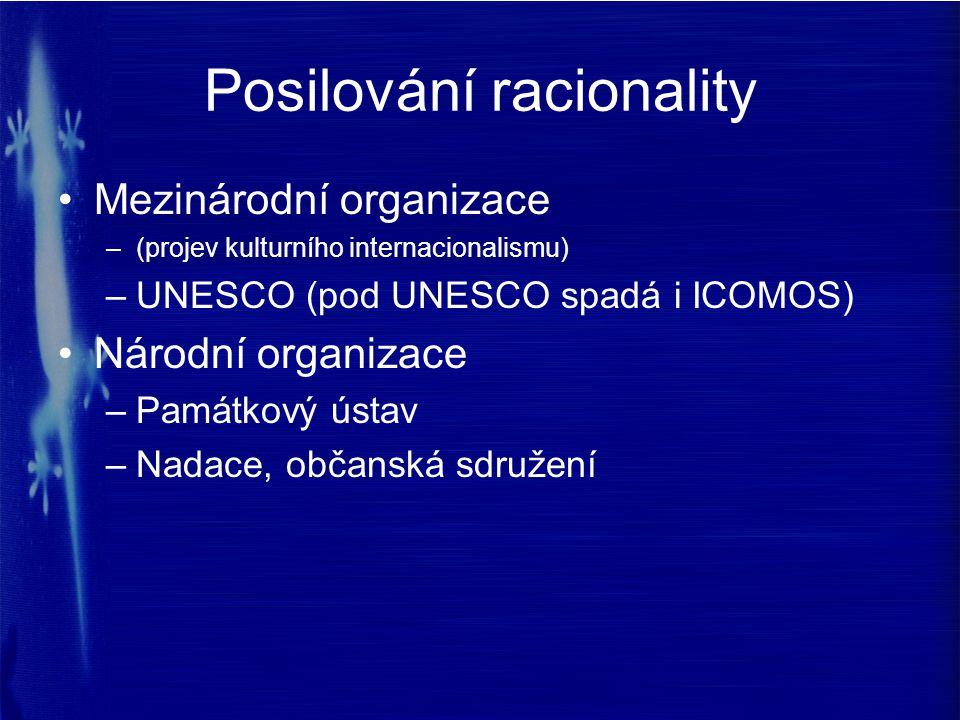 Posilování racionality Mezinárodní organizace –(projev kulturního internacionalismu) –UNESCO (pod UNESCO spadá i ICOMOS) Národní organizace –Památkový