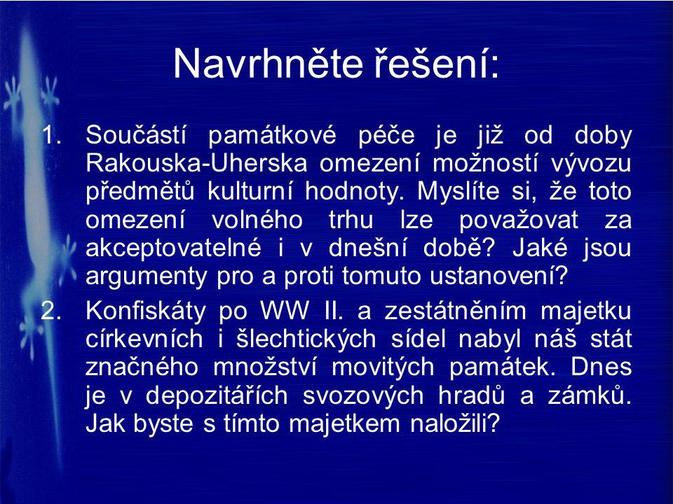 Navrhněte řešení: 1.Součástí památkové péče je již od doby Rakouska-Uherska omezení možností vývozu předmětů kulturní hodnoty. Myslíte si, že toto ome