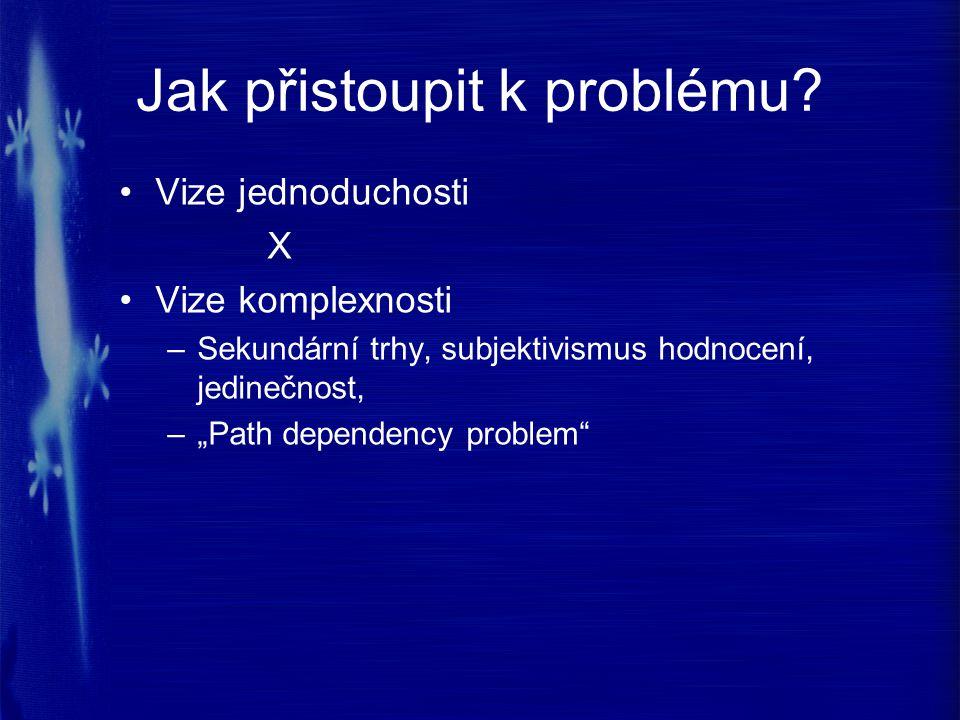 """Jak přistoupit k problému? Vize jednoduchosti X Vize komplexnosti –Sekundární trhy, subjektivismus hodnocení, jedinečnost, –""""Path dependency problem"""""""