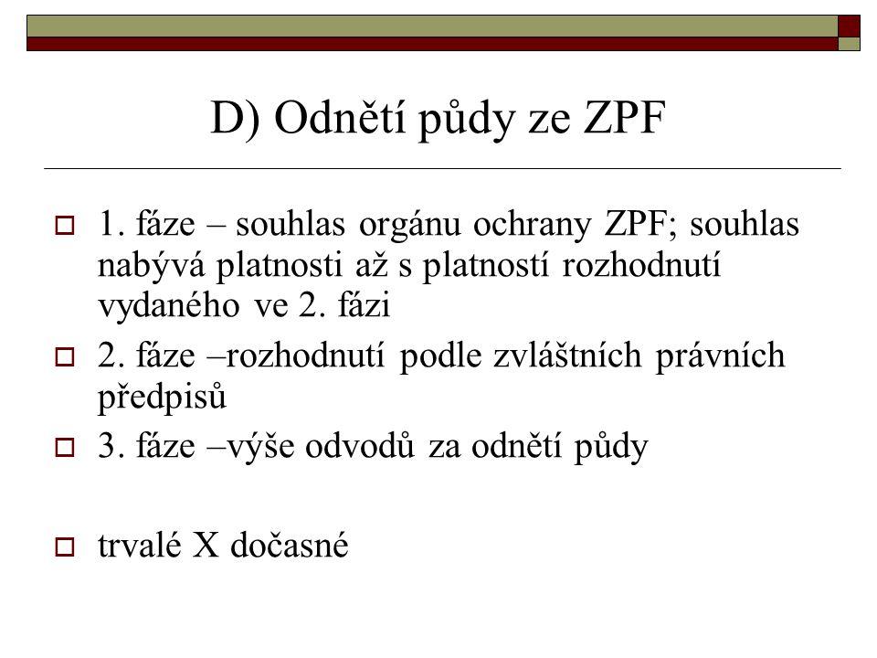 D) Odnětí půdy ze ZPF  1.