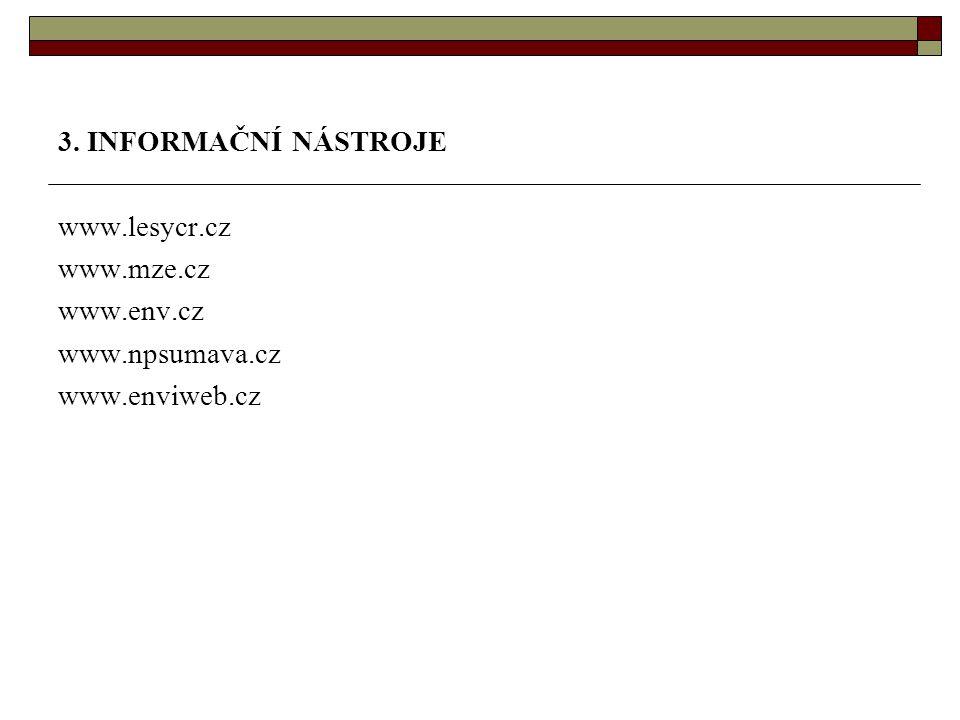 3. INFORMAČNÍ NÁSTROJE www.lesycr.cz www.mze.cz www.env.cz www.npsumava.cz www.enviweb.cz