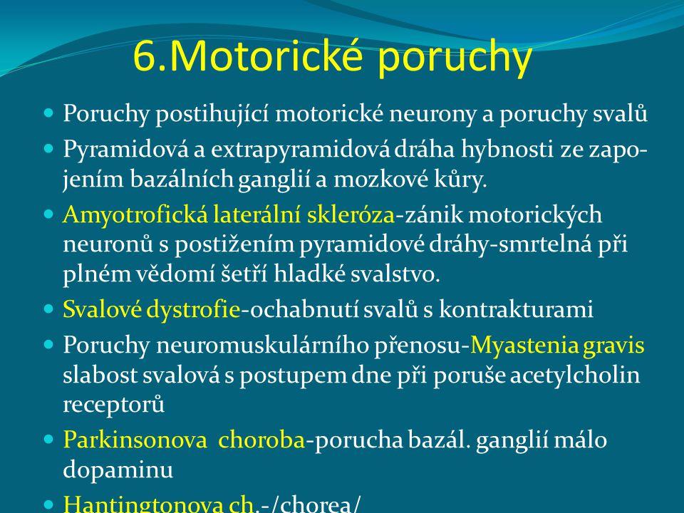 6.Motorické poruchy Poruchy postihující motorické neurony a poruchy svalů Pyramidová a extrapyramidová dráha hybnosti ze zapo- jením bazálních ganglií