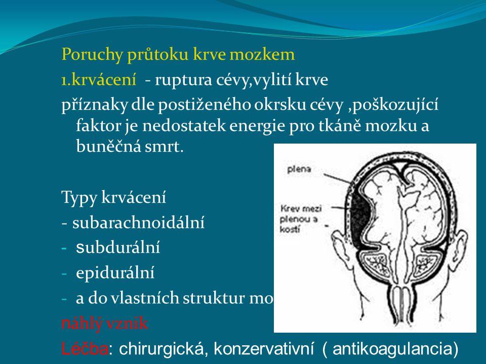 Poruchy průtoku krve mozkem 1.krvácení - ruptura cévy,vylití krve příznaky dle postiženého okrsku cévy,poškozující faktor je nedostatek energie pro tk