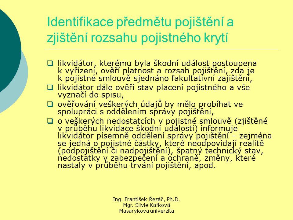 Ing. František Řezáč, Ph.D. Mgr. Silvie Kafková Masarykova univerzita Identifikace předmětu pojištění a zjištění rozsahu pojistného krytí  likvidátor