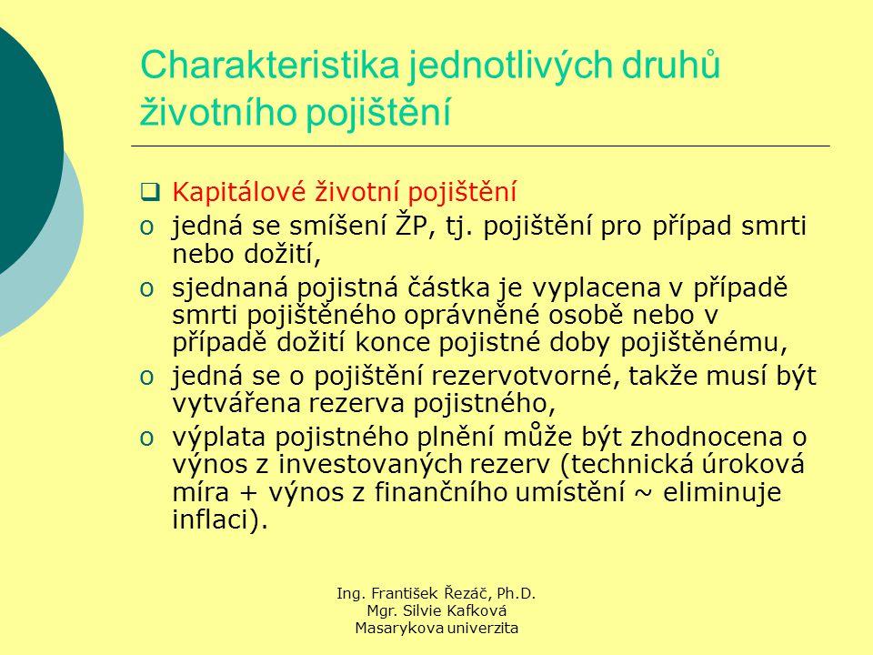 Ing. František Řezáč, Ph.D. Mgr. Silvie Kafková Masarykova univerzita Charakteristika jednotlivých druhů životního pojištění  Kapitálové životní poji