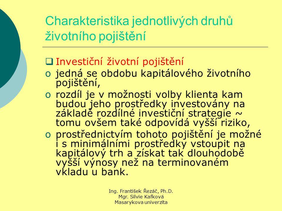 Ing. František Řezáč, Ph.D. Mgr. Silvie Kafková Masarykova univerzita Charakteristika jednotlivých druhů životního pojištění  Investiční životní poji