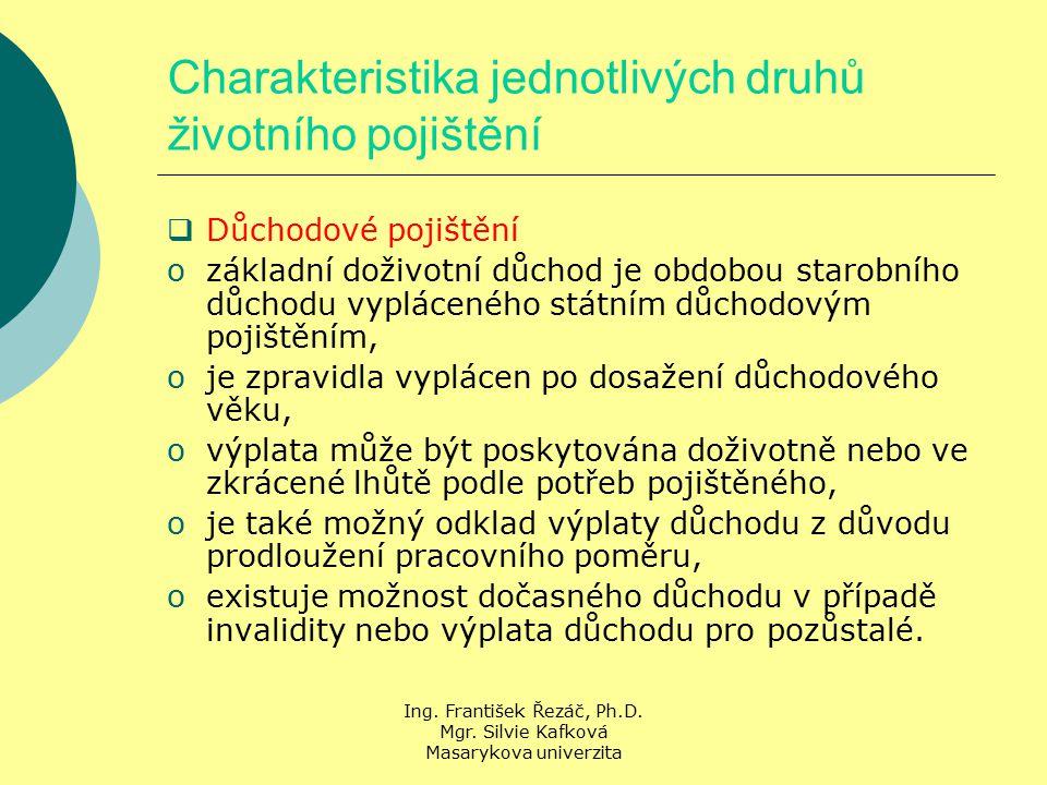 Ing. František Řezáč, Ph.D. Mgr. Silvie Kafková Masarykova univerzita Charakteristika jednotlivých druhů životního pojištění  Důchodové pojištění ozá