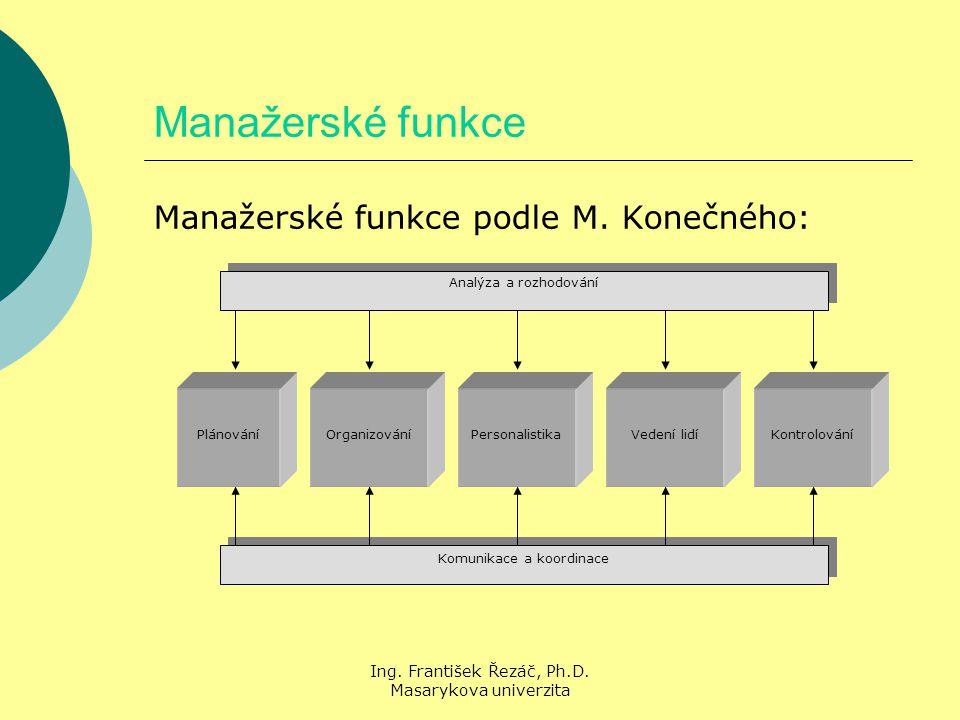 Ing. František Řezáč, Ph.D. Masarykova univerzita Manažerské funkce Manažerské funkce podle M.