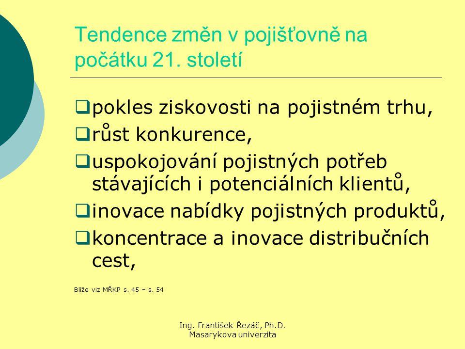 Ing. František Řezáč, Ph.D. Masarykova univerzita Tendence změn v pojišťovně na počátku 21.