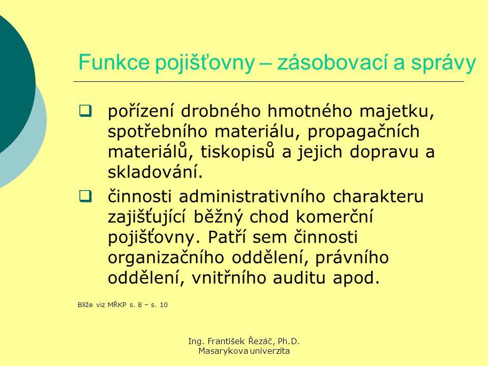 Ing.František Řezáč, Ph.D. Masarykova univerzita Manažerské funkce Manažerské funkce podle M.