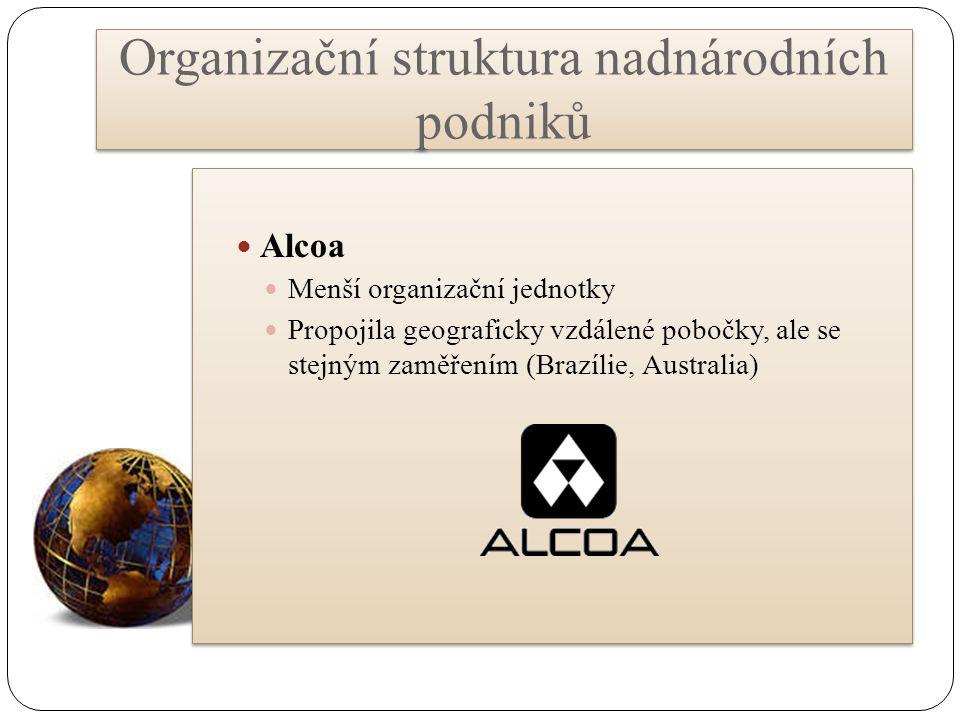 Organizační struktura nadnárodních podniků Alcoa Menší organizační jednotky Propojila geograficky vzdálené pobočky, ale se stejným zaměřením (Brazílie