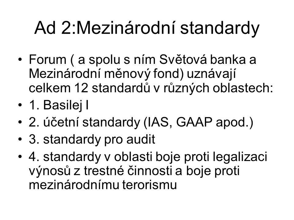 (pokrač.) Mezinárodní standardy 5.corporate governance 6.