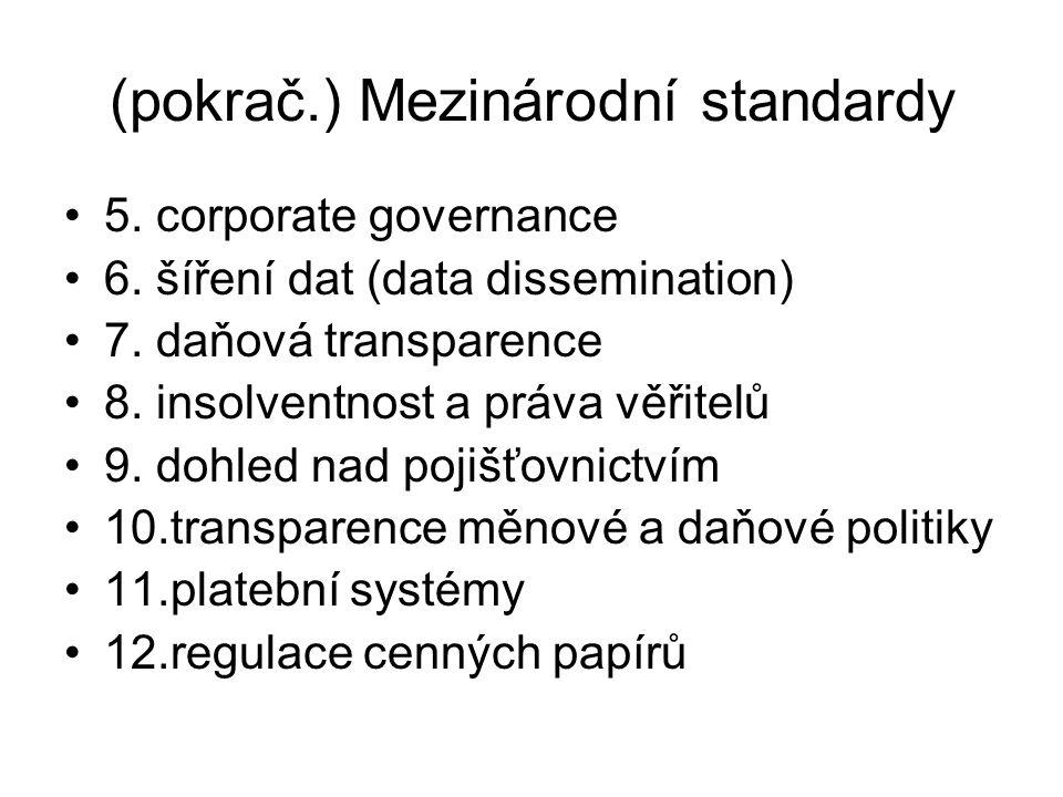 (pokrač.) Mezinárodní standardy 5. corporate governance 6.