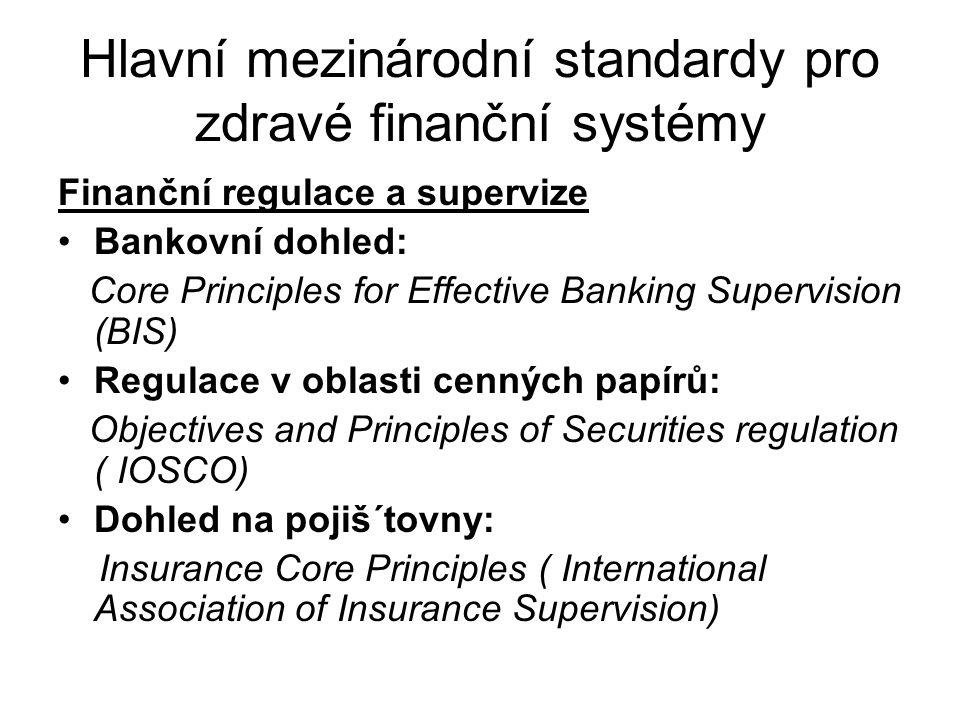 (pokrač.)Hlavní mezinárodní standardy pro zdravé finanční systémy Institucionální a tržní infrastruktura Insolventnost: Principles and Guidelines on Effective Insolvency and Creditor Right systems ( Světová banka) Corporate Governance: Principles of Corporate Governance (OECD)
