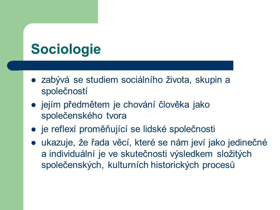 Sociologie zabývá se studiem sociálního života, skupin a společností jejím předmětem je chování člověka jako společenského tvora je reflexí proměňujíc