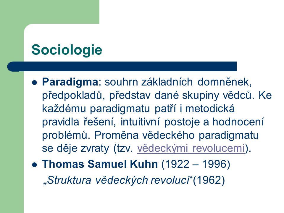 Sociologie Paradigma: souhrn základních domněnek, předpokladů, představ dané skupiny vědců. Ke každému paradigmatu patří i metodická pravidla řešení,